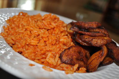 Jollof and plantain