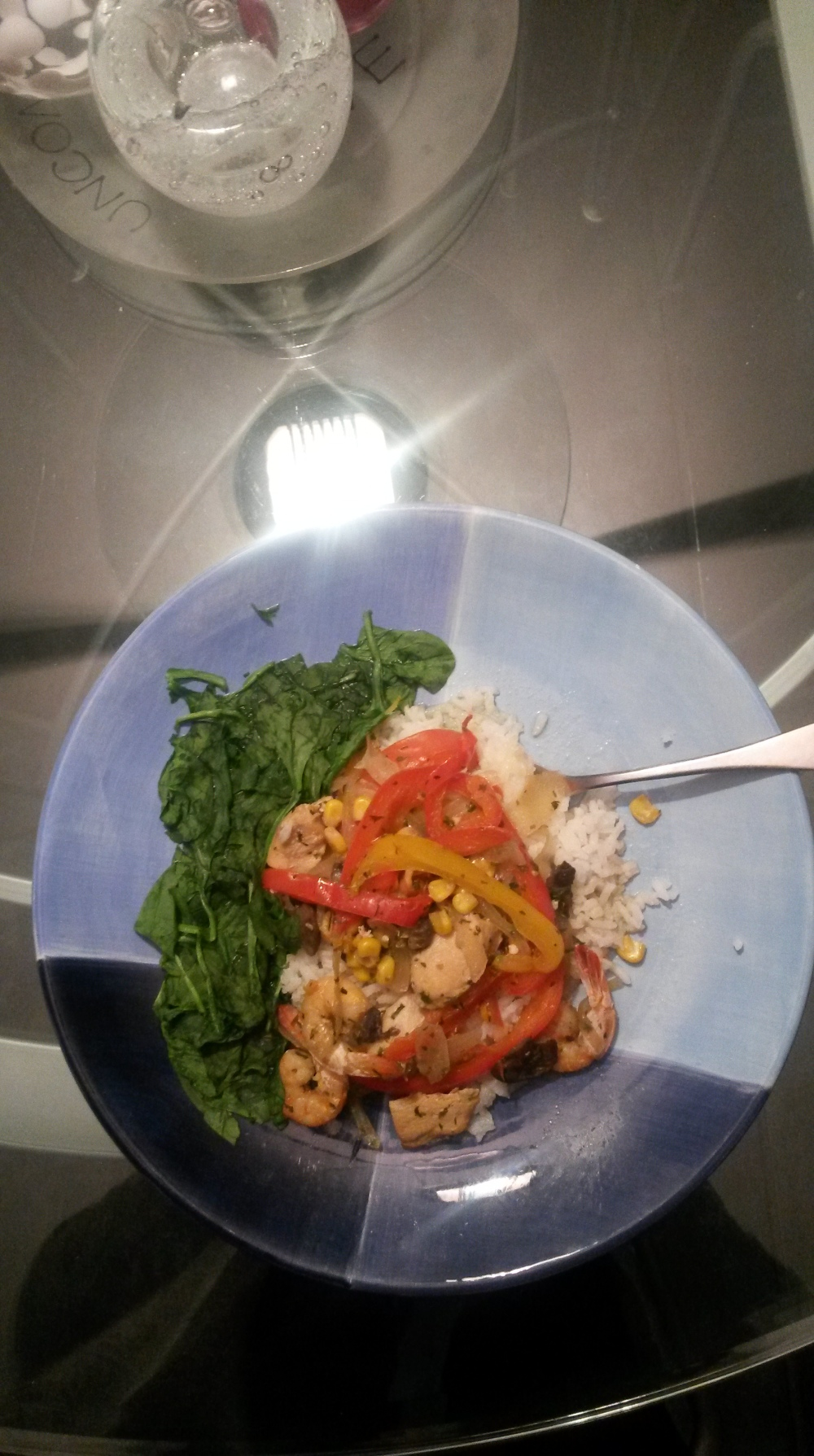 I added a side of steamed spinach for my daily dose of greens. The taste is masked by the stir fry! :)